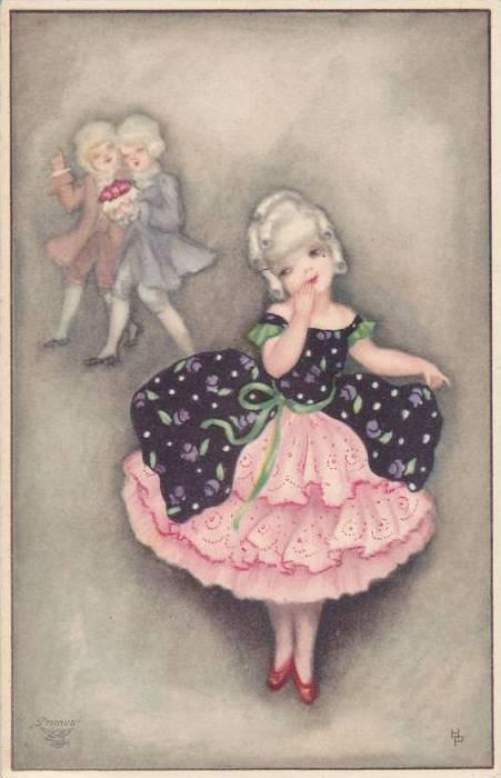 Art Deco : Shy girl giggles as boys wave, 10-20s