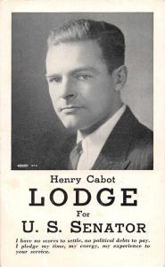 US Senator Election Henry Cabot Lodge Antique Postcard J79660
