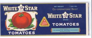 White Star Tomatoes Superior WI Co-op Vintage Can Label