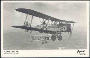 British Light Bomber Havilland 9A, One Liberty Engine J-818, Flight RPPC
