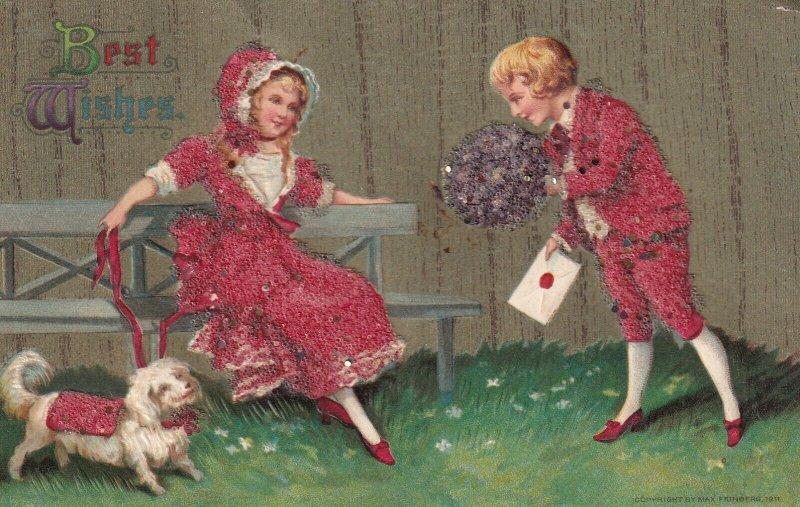 BEST WISHES, 1900-10s; Boy bringing flower bouquet to girl & dog, bonnet