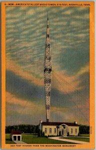 Nashville, Tennessee Postcard WSM - America's Tallest Radio Tower Linen c1940s