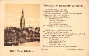 SALISBURY UK THOUGHTS ON SALISBURY CATHEDRAL~POEM GWENDOLEN OSMOND POSTCARD