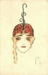 1920s Deco Fashion Woman Hand Colored Artist Ludwig Simon Postcard