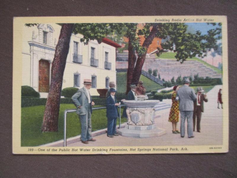 ~1930s USA Postcard- Drinking Radio Active Hot Water Hot Springs NP, AR (UU91)