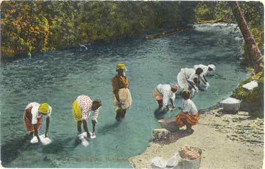 Women in River on Washing Day, Port Antonio, Jamaica,. Divided Back