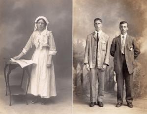 Servant Maid & Boy Masters Weird Suits 2x Antique Portrait Postcard s
