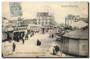 Old Postcard Fete Foraine Saint Nazaire Place Marceau during the fair