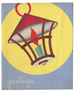 VINTAGE 1940s WWII ERA Christmas Greeting Card Art Deco CANDLE LAMP GREETINGS