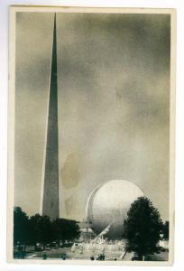 New York 1939 World's Fair View of Trylon & Perisphere PPC