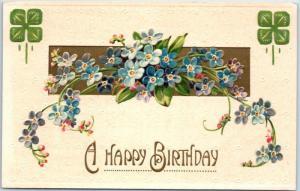 1910s Embossed Greetings Postcard Blue Flowers A HAPPY BIRTHDAY