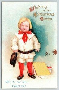 Ellen H Clapsaddle Christmas~Angelic Boy in Denial~Jam Mess~Twasn't Me! Embossed