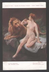 111748 NUDE Woman & Lover LION by TABARY vintage SALON color