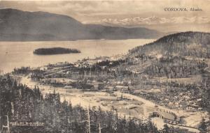 Cordova Alaska Bird's Eye View~Houses & Bldgs~Bay & Mountains Bknd~Albertype Pc