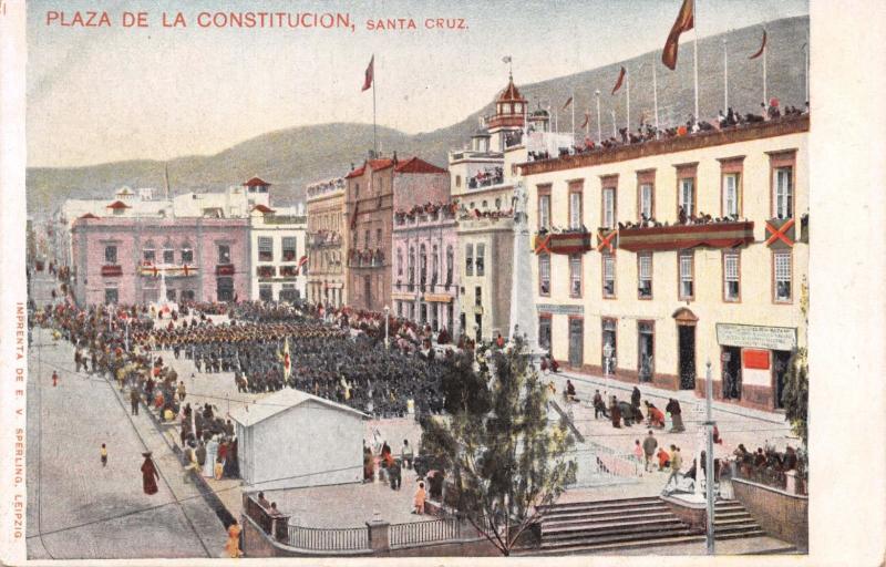 SANTA CRUZ SPAIN PLAZA DE LA CONSTITUCION POSTCARD 1900s