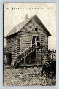 Nashville IN, Brown County, Two Story Old Log Jail Vintage Indiana Postcard