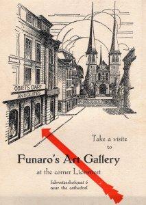 Funaro's Art Gallery Lucerne Old Swiss Advertising Postcard Ephemera