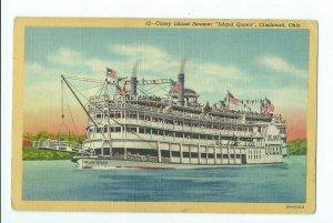 Postcard Coney Island Steamer Island Queen Cincinnati Ohio VPC01.