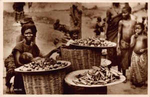 Ghana Gold Coast natives market sellers kids Postcard