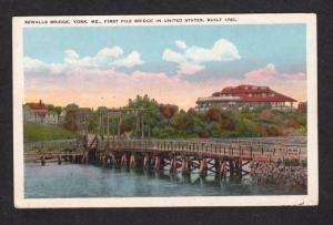 ME Vintage view Sewall's Pile Bridge York Maine Postcard PC Carte Postale