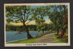 MI Greetings from GAYLORD MICHIGAN Postcard Linen PC