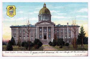 1907 State Capitol Building Salem OR Shield UDB Providence John Smith Stamp RARE