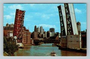 Chicago IL, West Erie Street Bridge, Downtown, Chrome Illinois Postcard