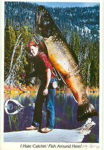 Comic Novelty Giant Brook Trout Fish Spokane Washington  Postcard  # 7480