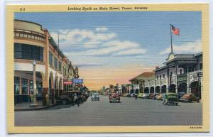 Main Street Scene Cars Drug Store Budweiser Signs Yuma Arizona linen postcard