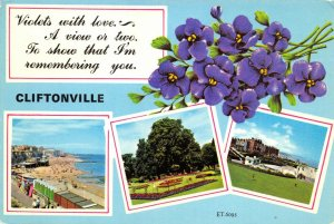 Vintage Kent Multi View Postcard, Violets with Love, Cliftonville FM4