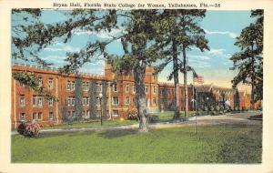 Tallahassee Florida State College For Women Bryan Hall Antique Postcard K63330