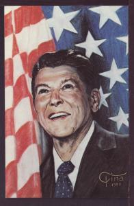 President Ronald Reagan Portrait by Tina Post Card 3388