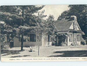 1940's HAMILL HALL ON WILLIAMS BAY Lake Geneva Wisconsin WI c3949