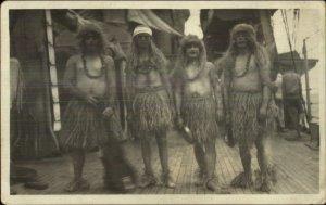 US Navy Sailors Crossdressing Equator Ritual Wigs Grass Hula Skirts Gay RPPC