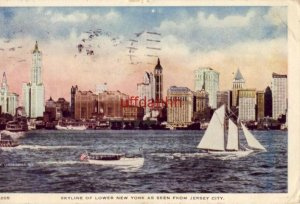 SKYLINE OF LOWER NEW YORK AS SEEN FROM JERSEY CITY, 1918 cpyrt Irving Underhill