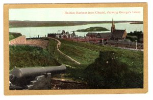 Halifax Harbour from Citadel, George`s Island, Nova Scotia, Gold Border