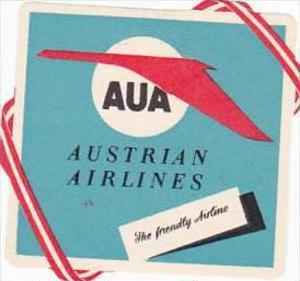 AUA AUSTRIAN AIRLINES VINTAGE LUGGAGE LABEL