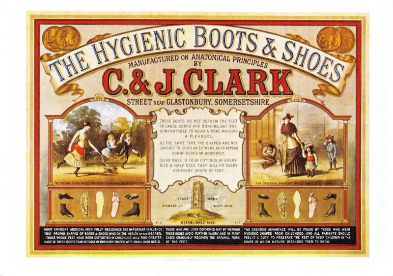Postcard C&J Clark Boots & Shoes 1883 Vintage Reproduction Advertisement #AD
