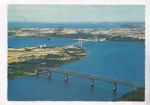 Aerial view of the old and new bridge across Lillebaelt, Denmark, used Postcard