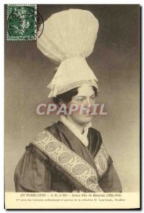 Postcard Old Lady in Bayeux in Normandy Folklore Costume Cap