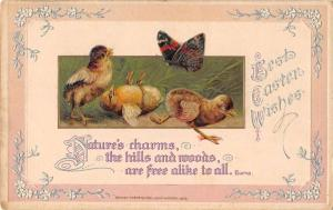 Best Easter Wishes chicks butterfly embosses antique pc Z25104