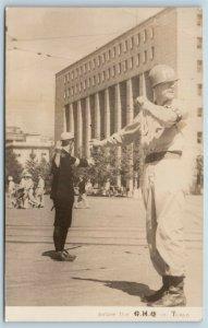 Postcard Photo US Military Police & Japan Police Occupation 1946 Tokyo RPPC T2