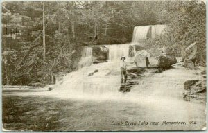 Menominee, Wisconsin Postcard Lamb Creek Falls Fishing Scene 1909 WI Cancel