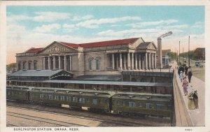 Nebraska Omaha Train At Burlington Railroad Station Curteich sk145