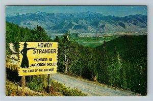 Jackson Hole WY- Wyoming, Teton Pass, Jackson Hole Aerial, Chrome c1957Postcard