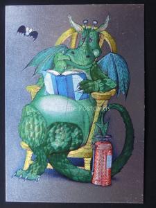 CARTOON DRAGON READING FAIRY TALES BOOK c1985 by F J Warren DUFEX FOIL Postcard