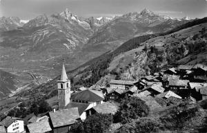 Switzerland Visperterminen Wallis mit Bietshhorn Kirche Church General view