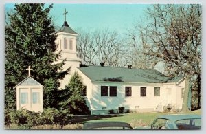 Great Lakes Illinois~Naval Hospital~All Souls Chapel~Cross on Sign & Roof~1950s