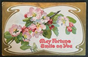 """Postcard Used Embossed Flowers """"May fortune smile...""""  MO LB"""