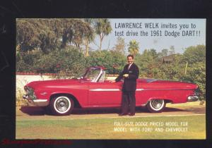 1961 DODGE DART LAWRENCE WELK CAR DEALER VINTAGE ADVERTISING POSTCARD